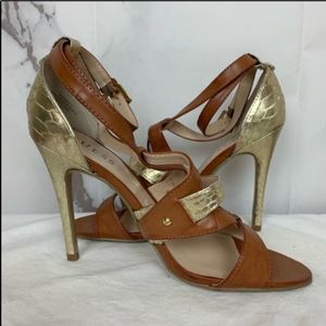 Guess Gold Animal Print Ankle Strap Open Toe Heels